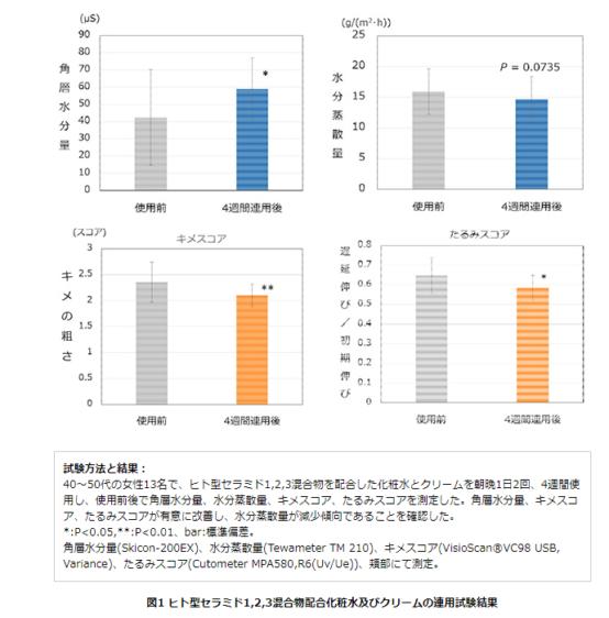 ヒト型セラミド1,2,3混合物配合化粧水及びクリームの連用試験結果