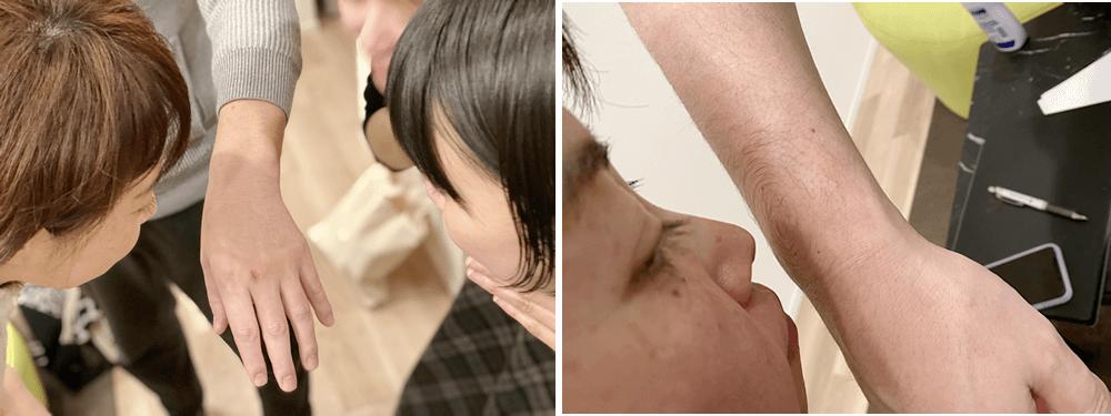 男性にも、女性にも塗って、香り方をチェックする