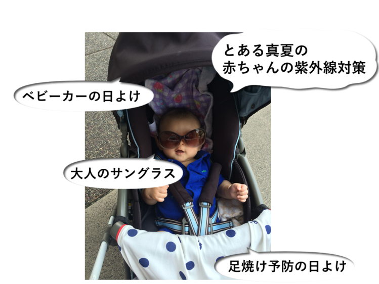 とある真夏の赤ちゃんの紫外線対策例