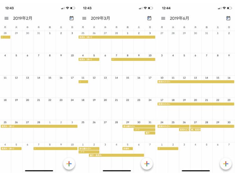肌荒れ状態をカレンダーに記録