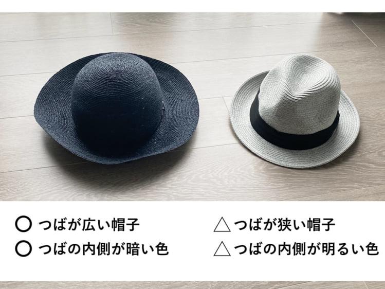 おすすめはつばの広い帽子