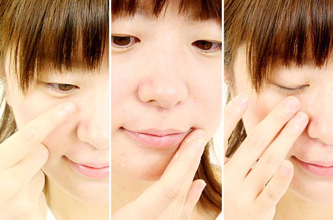 目元や口元・頬など、小じわの気になる箇所にゲルを塗る写真