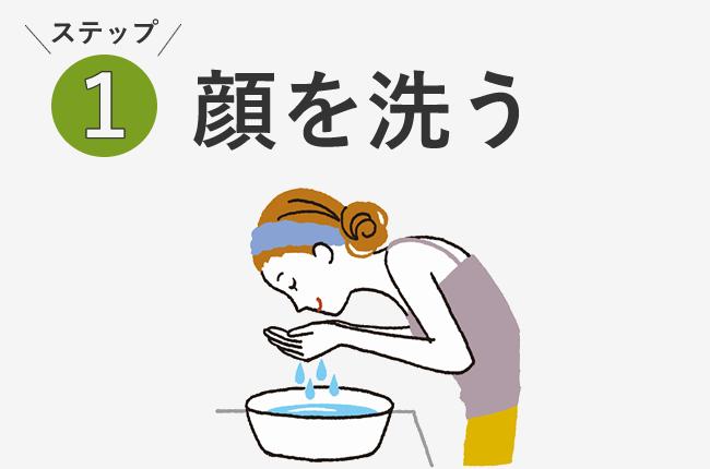 ステップ1顔を洗う